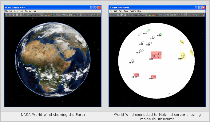 Parallel display of NASA World Wind and Molwind screenshots